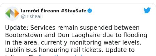 Tweet by @Iarnród Éireann #StaySafe