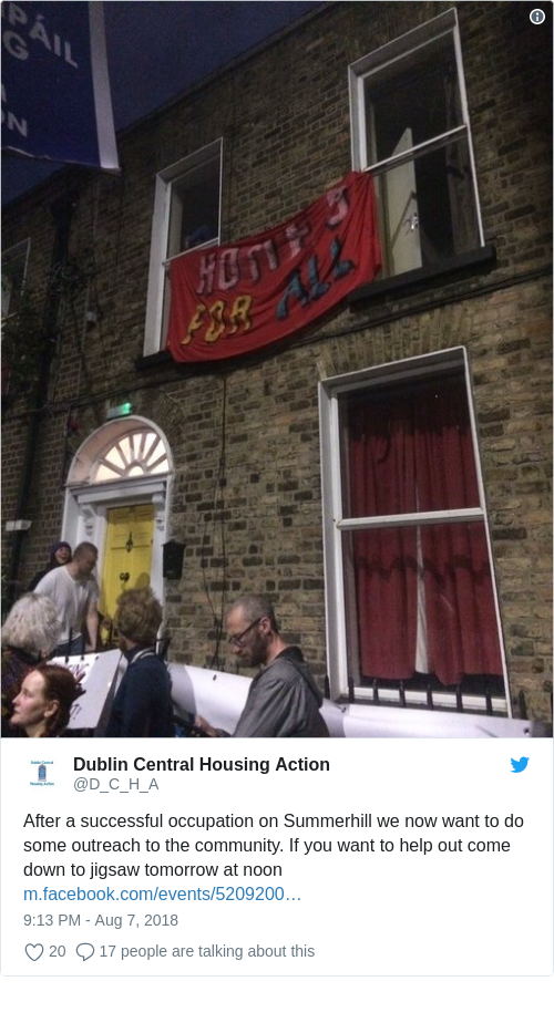 Tweet by @Dublin Central Housing Action