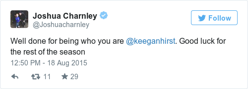 Tweet by @Joshua Charnley