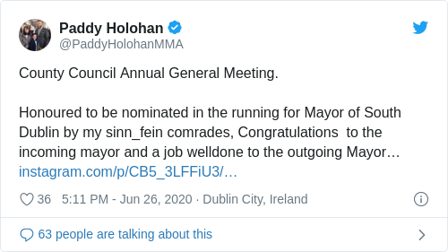 Tweet by @Paddy Holohan