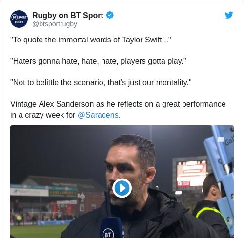 Tweet by @Rugby on BT Sport