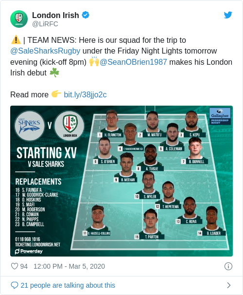 Tweet by @London Irish
