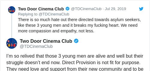 Tweet by @Two Door Cinema Club
