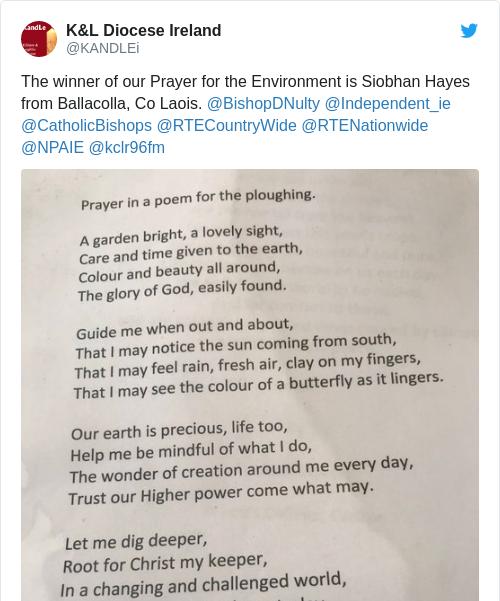 Tweet by @K&L Diocese Ireland