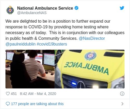 Tweet by @National Ambulance Service