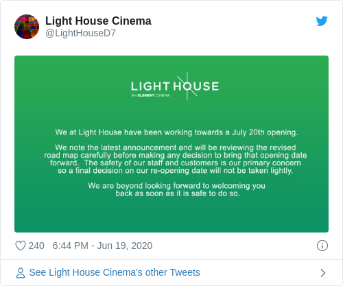 Tweet by @Light House Cinema