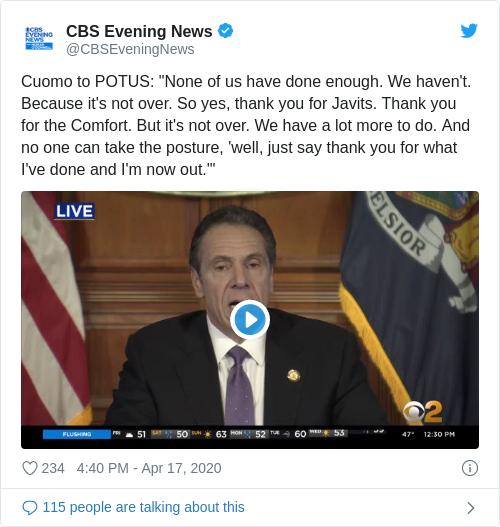 Tweet by @CBS Evening News