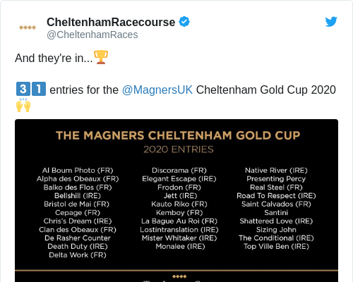 Tweet by @CheltenhamRacecourse