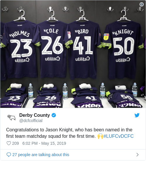 Tweet by @Derby County