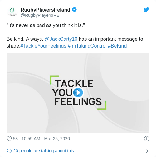 Tweet by @RugbyPlayersIreland