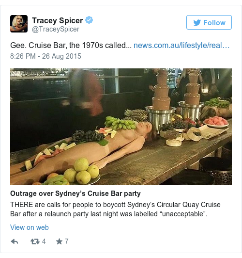 Tweet by @Tracey Spicer