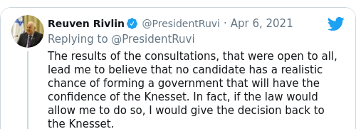 Tweet by @Reuven Rivlin