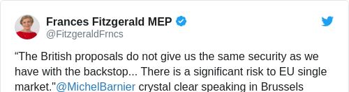 Tweet by @Frances Fitzgerald MEP