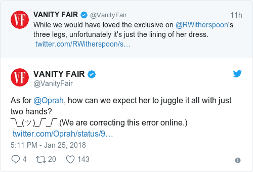 Tweet by @VANITY FAIR