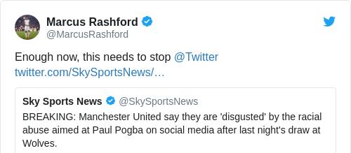 Tweet by @Marcus Rashford