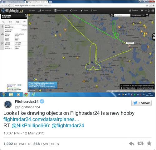 Tweet by @Flightradar24