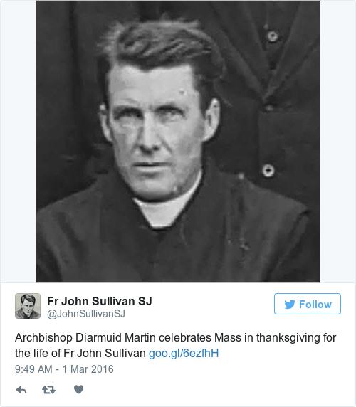 Tweet by @Fr John Sullivan SJ