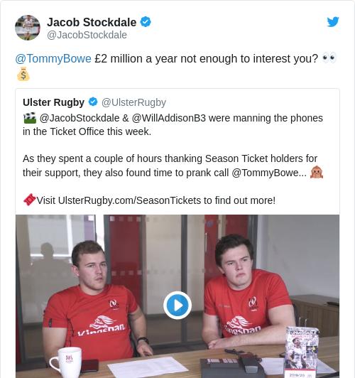 Tweet by @Jacob Stockdale