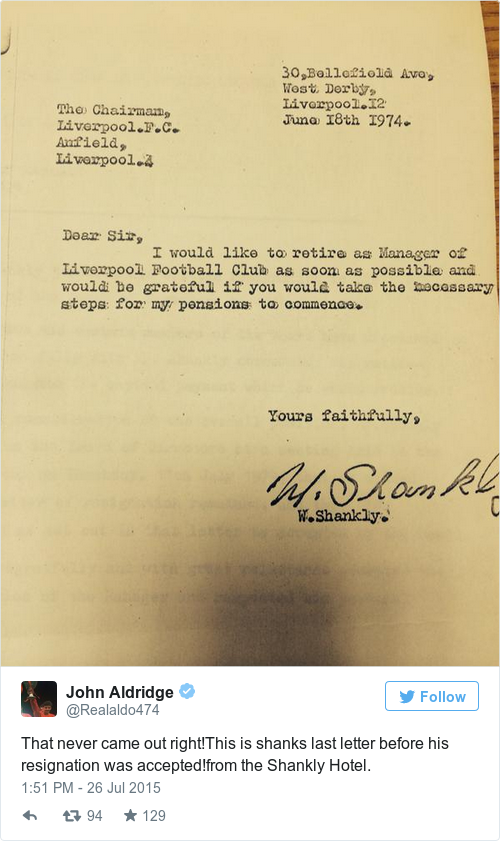 the resignation letter of one of football s greatest managers has