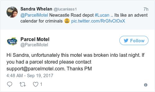 Tweet by @Parcel Motel