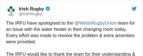 Tweet by @Irish Rugby