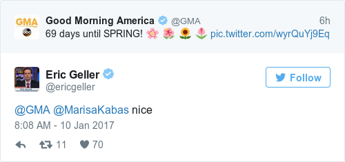 Good Morning America Tweeted That There S 69 Days Until Spring And