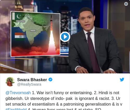 Tweet by @Swara Bhasker