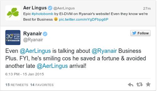 Tweet by @Ryanair