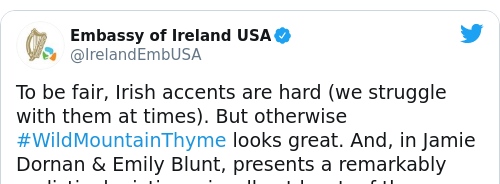 Tweet by @Embassy of Ireland USA
