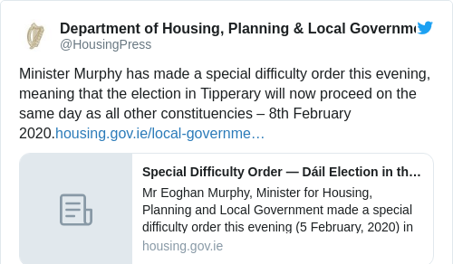Tweet by @Department of Housing, Planning & Local Government