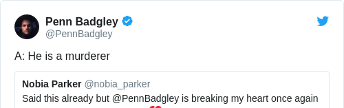Tweet by @Penn Badgley