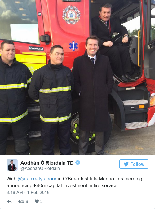 Tweet by @Aodhán Ó Ríordáin TD