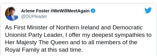 Tweet by @Arlene Foster #WeWillMeetAgain