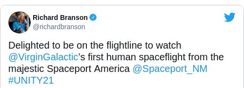 Tweet by @Richard Branson