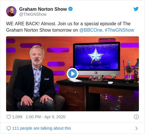Tweet by @Graham Norton Show