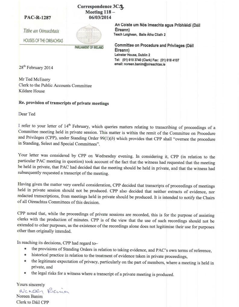 This letter confirms the PAC can t release a transcript of the
